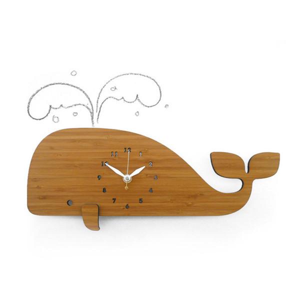 Wood Wall Clock Modern Design Marine Theme Whale 3D Stickers Decorative Kids Room Animal Silent Watch Wall Clocks Home Decor