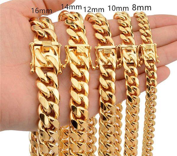 Lujo 18K Chapados en oro Collares de oro Cadenas gruesas Alto pulido Miami Cuban Link Collar Hombres Cadena Punk Curb Cadena Moda collares