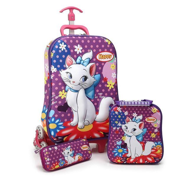Hot Cartoon gato 3D menino anime trolley case Subir as escadas bagagem Viagem rolando mala menina dos desenhos animados Puxar mochila haste