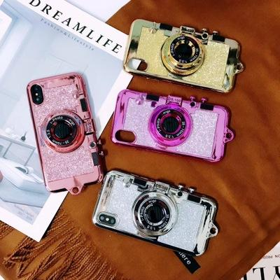 Luxury Creative plating glitter Bracket lanyard Crashproof camera soft Cell Phone Case Protective Covers For Apple iPhone x 6 6s 7 8 plus