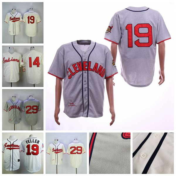 Men's 19 Bob Feller Satchel Paige Cleveland Larry Doby Indians Cream Cooperstown Collection Throwback Baseball Jerseys