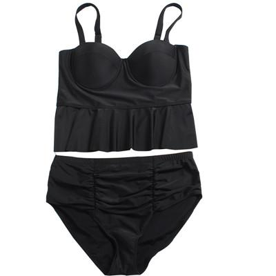 a5d53f4f665 Plus Size Swimwear for Women High Waist Swimsuit 2019 Sexy Brazilian Micro  Bikinis Lady Beach Biquinis Push up Swim Wear Bathing Suit Black
