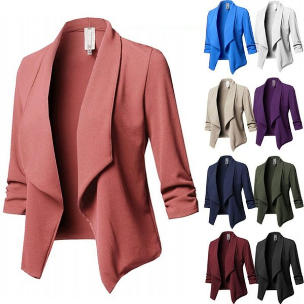 2018 Womens Three-Quarter Sleeve Office Lapel Coat Open Front Cardigan Jacket Solid Plus Size Ladies Collar Suit Jacket