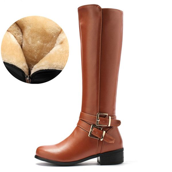Large size 34-46 women knee high boots buckle with zip Retro women's motorcycle boots thick fur warm winter snow boots