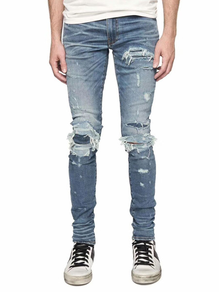 4dafcdb25b68c American Streetwear Moda Hombre Jeans Azul Destroyed Patch Ripped Jeans Hombres  Pantalones Rotos hombre Marca Hip