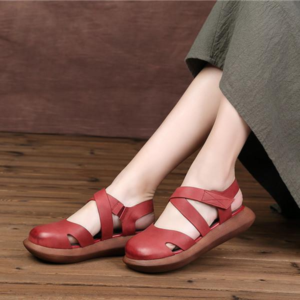 Mori Kız Style Kadın Flats Kapalı Burun Gerçek Deri El Yapımı Platform Ayakkabı Kadın Yuvarlak Burun Mary Jane Shoes
