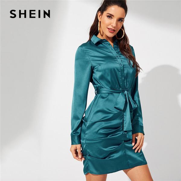 wholesale Going Out Blue Waist Belted Button Front Collar Slim Short Sheath Dress Elegant Women Autumn Modern Lady Dresses