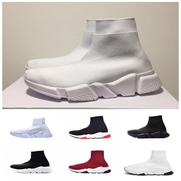 Großhandel 2019 Neue Socke Schuhe Triple S Sneakers Geschwindigkeit Flache Mode Damen Herren Schwarz Rot Paris Casual Socken Zapatillas Stiefel 36 45