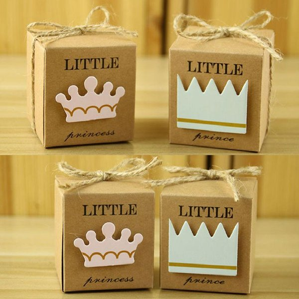 100 piezas Little Prince Princess Square Crown Kraft Paper Baby Shower Candy Box Party Gift Boxes Girl Boy Kids Birthday Favors Box