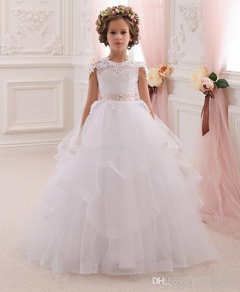 Pretty White Lace Flower Girl Dresses With Belt Tired Tulle Floor Length Girls Ball Gown First Communion Dress Custom