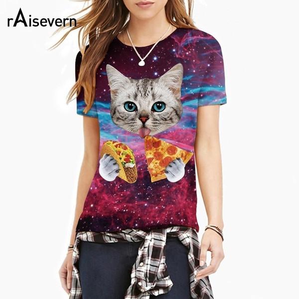 Raisevern 2018 New Galaxy Space 3d T Shirt Gato gatito encantador Comer Taco Pizza Camisetas con manga graciosa camisetas de verano de manga corta C19042201