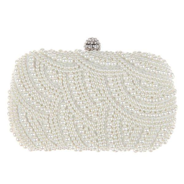 Oval Shaped Pearl Beaded Handbag Women White Clutch Bag Elegant Chain Shoulder Handbags Wedding Bridal Purse Clutch Female