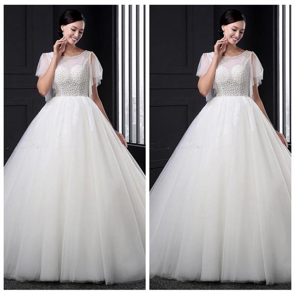 Scoop Short Sleeves A-Line Wedding Dresses Tulle V-Shape Back Bridal Gowns 2019 Modest Beaded Top Vestidos De Marriage Backless Wedding Wear