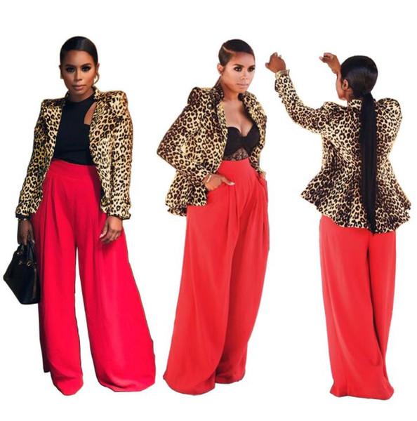 Sexy women Leopard print flounces suit jacket fashion ladies casual Shirt Tops cardigan coat Outerwear