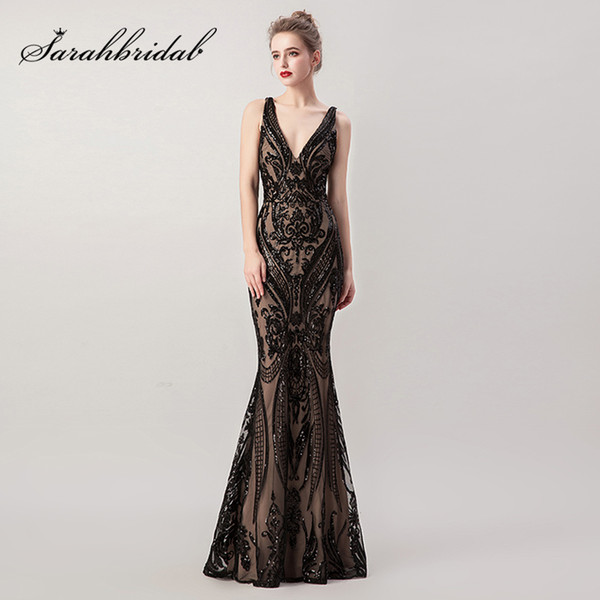 Beading Black Long Mermaid Evening Dresses with Detachable Tulle Skirt Sequin Sexy V-neck Criss-Cross Backless Prom Gowns L5265