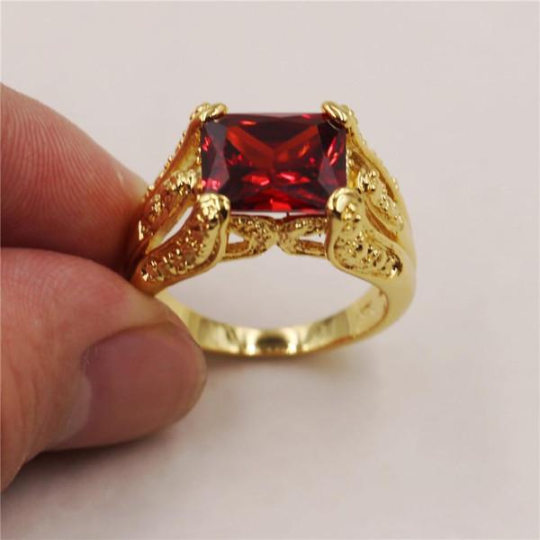 Cadeau d'anneau intemporel grenat rouge radiant grenat rouge or jaune 18K rempli pour homme