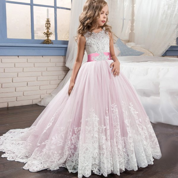 5-14 ans dentelle robe de mariée dos nu 2019 pas cher robes de fille de fleur sans manches bébé fille fête d'anniversaire noël bal de longue durée tutu jupes