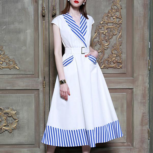 Gestreifte patchwork kleider für frauen ärmellose hohe taille midi dress weiblichen frühling 2019 koreanische mode kleidung