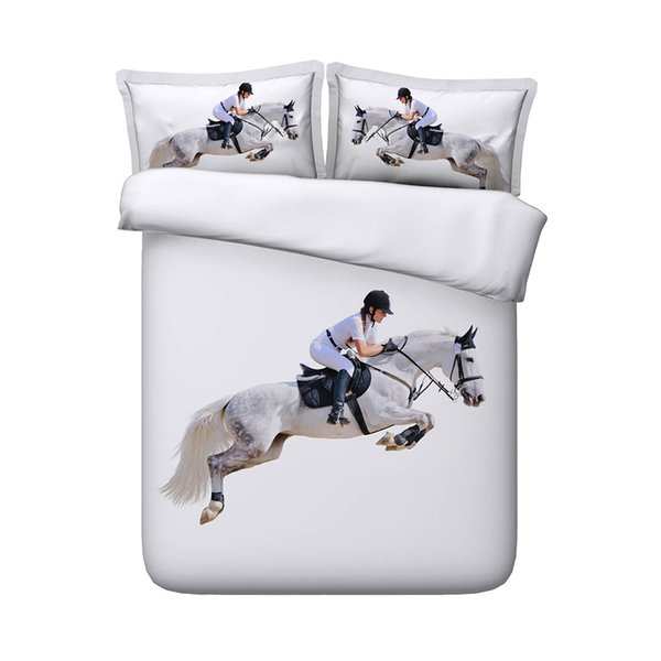 Jumping Horse And Sportsman Race Competition Performance Bedspread Horses Duvet Cover Set Decorative 3 Piece Bedding Set Duvet Cover