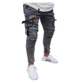 Hommes Solid Jeans Poches Slim Fit Crayon Denim Pantalons Hip Hop Homme Jeans Denim Ripped Casual Skinny Streetwear Distressed Pantalons
