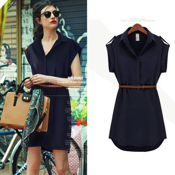 Avrupa ve Amerikan kadın büyük isim kısa kollu gevşek gömlek etek büyük boy ince ince kadın şifon elbise kemer yaz elbiseler göndermek