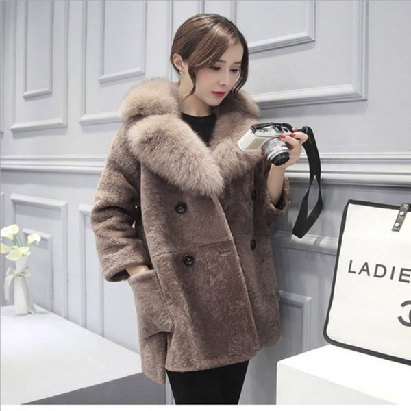 Haining Imitation Leather Fur Loose Coat Sheep Shearing Overcoat Girl's Middle School Long Fox Hair Female C18