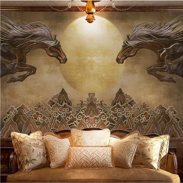 HD style mongol brun Vintage chevaux en relief galopant soleil photo fonds d'écran pour hôtel salon chambre papier peint 3D