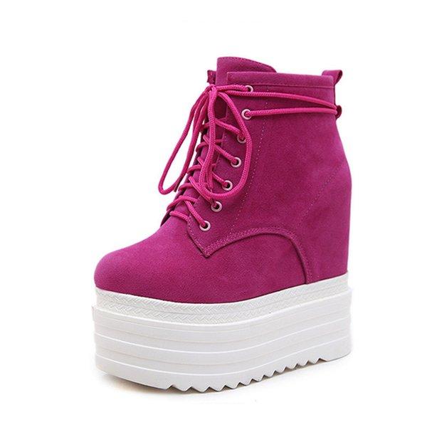 Женская осень Кроссовки Обувь Платформа High Top 2018. натуральная кожа женские Повседневная обувь Увеличенная Клин тапки ботинка женщины