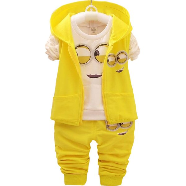Baby Girls Boys Minions Clothing Sets Children New Spring And Autumn Cartoon Cotton Suit Hooded Vest +t Shirt +pants Clothes Set J190716