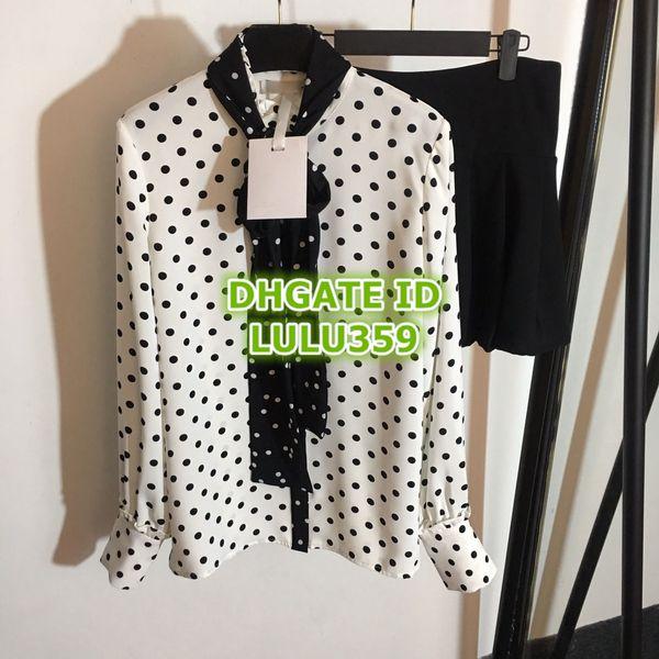 Women's Polka Dot Two Piece Dress Bow T-Shirt Long Sleeve Shirt + Pleated Skirt A-Line Skirt Set S-M-L 19
