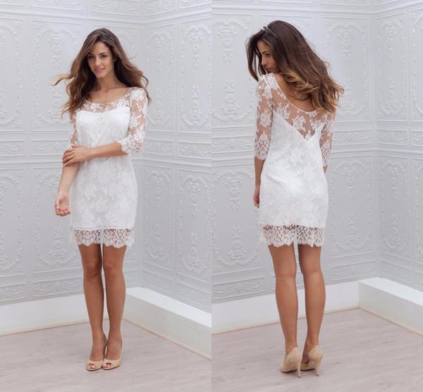 Simple Lace Short Wedding Reception Dresses Scoop Neck Illusion Half Sleeves Hollow Back Under Vestidos De Novia Wedding Dress Bridal Gown White