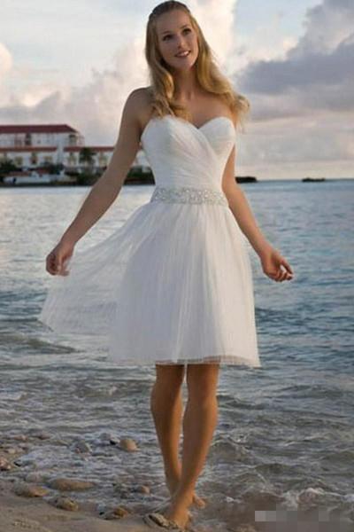 Newest A Line Short Wedding Dresses Beaded Waist Sweetheart Neckline Tulle Rueched Pleats Beach Wedding Bridal Gown Custom Made