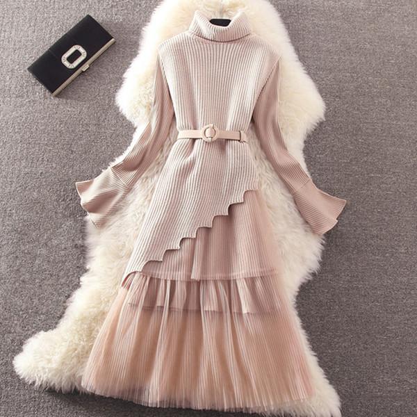 Otoño Invierno Vestido de Las Mujeres Traje 2018 Lindo de Malla de Encaje Vestido de Punto Bodycon Casual Vestido Plisado Trabajo Primavera vestidos
