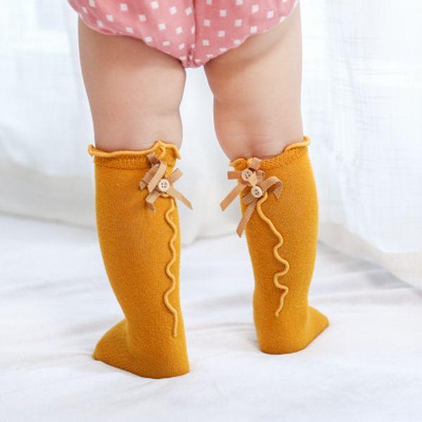Bebek Bebek Çocuk Sevimli Karikatür Pamuk Yeni ilkbahar ve sonbahar yay kulak tarafı bebek tüp çorap pamuk tüp kızlar raptiye çorap dantel çorap