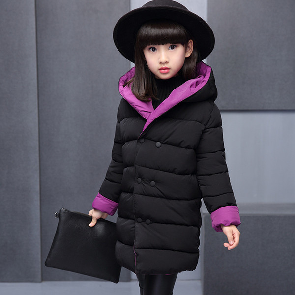 Girls winter Coats 2019 Hooded Children Parka Teenage Outerwear Kids jackets Thick long Snowsuit Padded Girls Children Clothing