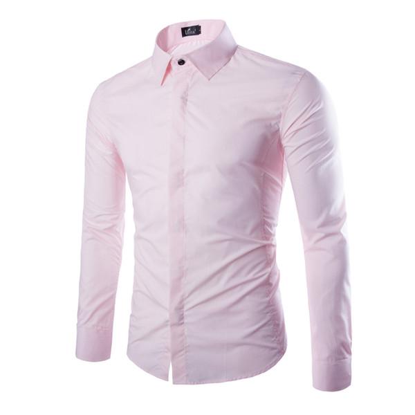 5 couleurs asiatique taille XXXL hommes chemise à manches longues slim fit Covered bouton uni blanc rose chemises hommes vêtements 2018 CS11
