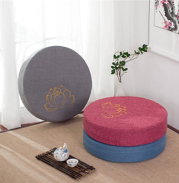 Style japonais futon culte de Bouddha assis tissu coussin fenêtre balcon en lin rond lavable tatami lotus méditation tapis