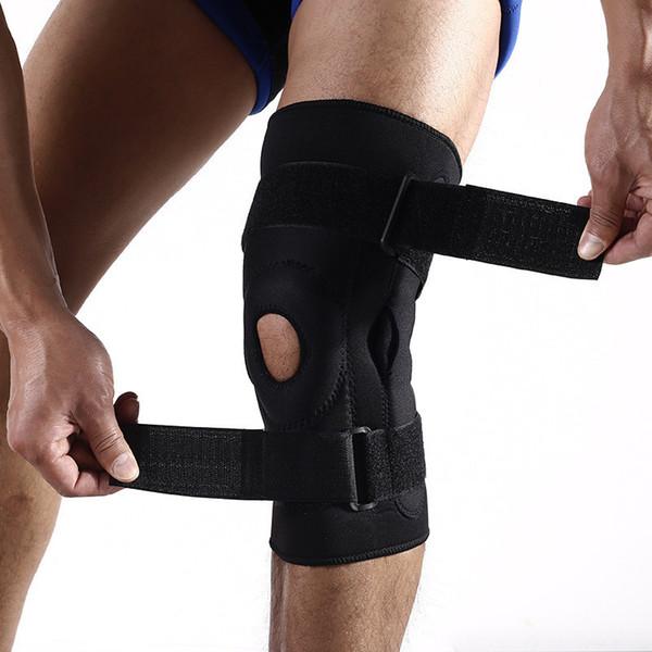 Açık spor kneepad çift alüminyum plaka desteği sihirli sticker kaymaz anti-çarpışma dağcılık fitness ekipmanları