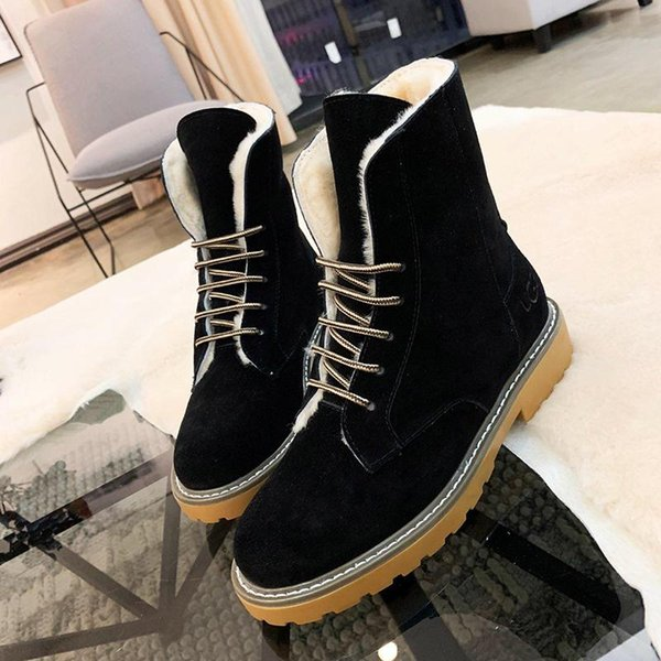 High Top Snow Boots Warm Winter 2018 Fur Lace-Up Lady Shoes Zapatos de hombre Footwears Keep Warming Ankle Platform Boots with Origin Box