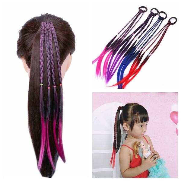 Fashion Kids Wig Headband Kid Elastic Hair Band Rubber Band Hair Accessories Girls Twist Braid Rope Headdress Children Gift
