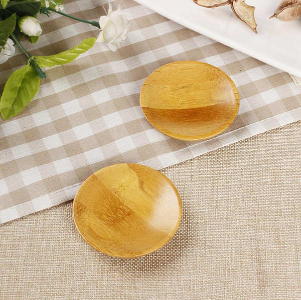 Free Shipping natural bamboo small round dishes Rural amorous feelings wooden sauce and vinegar plates Tableware plates tray SN1945