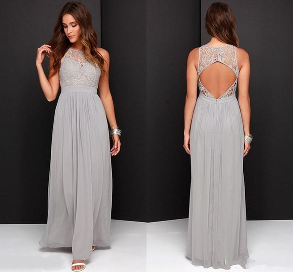 Silver Grey Bridesmaid Dresses For Wedding Long Chiffon A-Line Backless Formal Dresses Party Lace Modest Maid Of Honor Dresses SH280