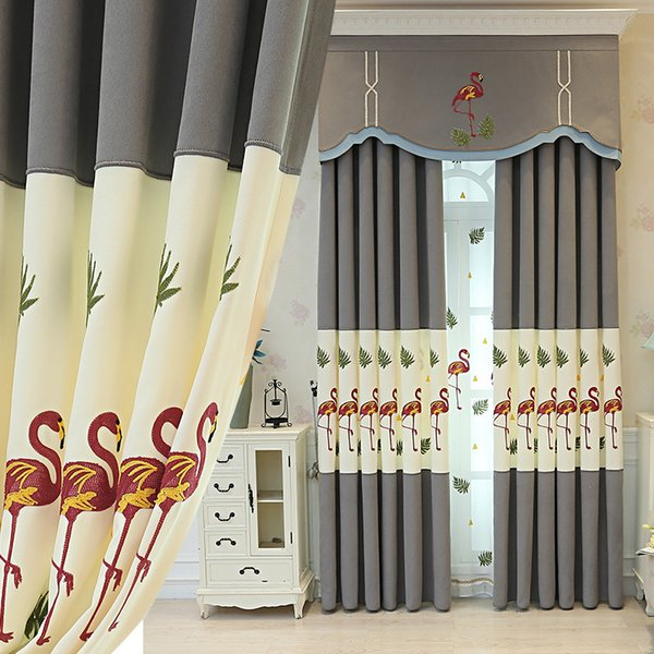 Korean Nordic Flamingo Children's Room Shading Light Luxury Grey Mosaic Curtains for Living Dining Room Bedroom.