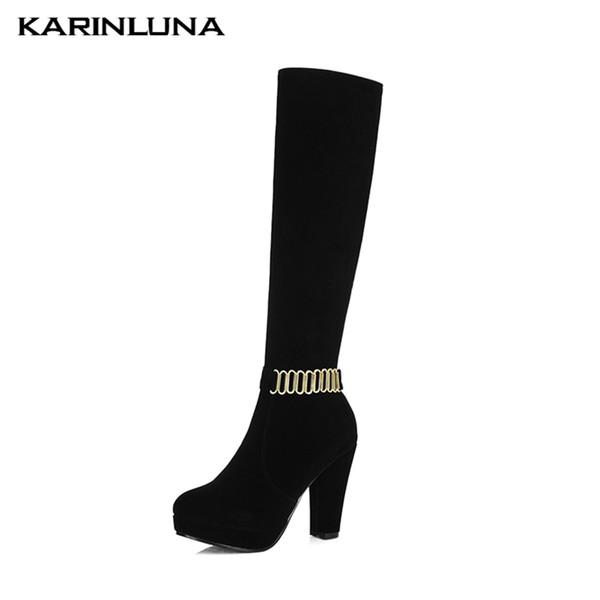 Talons Plateforme Noir Femme Acheter Chaussures Dropship Chaussures Femme Bottes Nouveautés Élégant Karinluna De Haute Femme Zip Up Genou Bottes qjLGUpzMSV