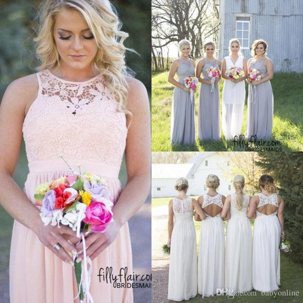 2019 New Country Style Cheap Bridesmaid Dresses Grey Blue Pink Ivory Lace Top High Waist Maternity Chiffon Long Summer Beach Dresses
