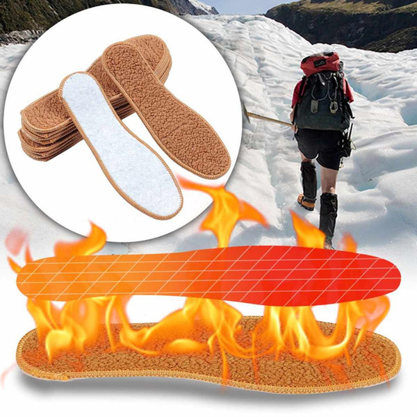 Keep Warm Heated Pad Alpaca Plush Insoles Thicken Soft Breathable Winter Sport Shoes Insert for Snow Boots Insoles Men Women