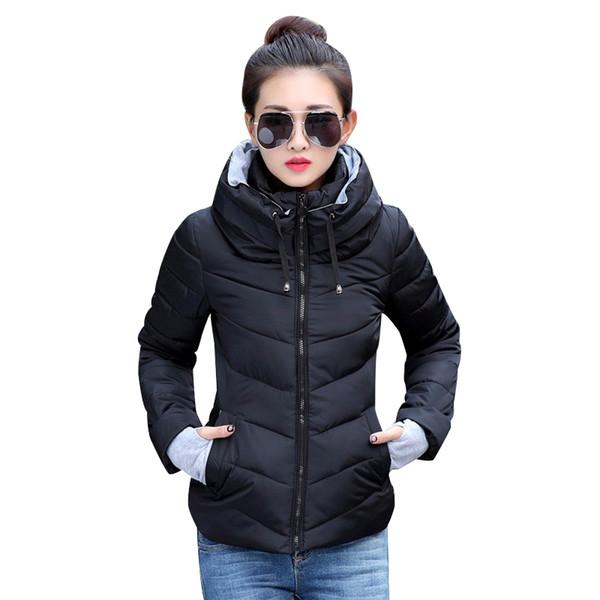 2019 Winterjacke Frauen Plus Size Womens Parkas Verdicken Oberbekleidung feste Kapuzenmäntel Kurze weibliche Slim Cotton gepolsterte Basic-Tops
