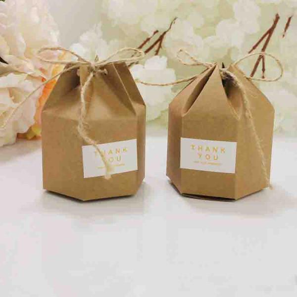 Candy Dragee Box Kraft Geschenkbeutel Hochzeitsbevorzugungsgeschenkboxen Kuchenparty Boxbeutel Umweltfreundliche Kraft Geschenkbeutel, die Verbrauchsmaterialien einwickeln
