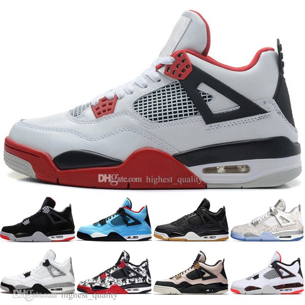 With Box In Stock 2019 New Bred 4 4s What The Cactus Jack Laser Wings Mens Basketball Shoes Eminem Pale Citron Men Sport Designer Sneakers
