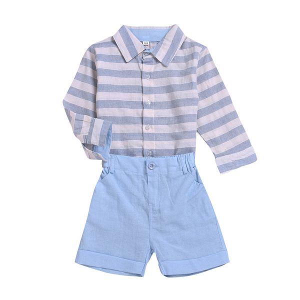 INS garçons costumes rayures enfants tenues enfants vêtements griffés garçons vêtements griffés rayures chemise à manches longues + shorts vêtements enfants A7893